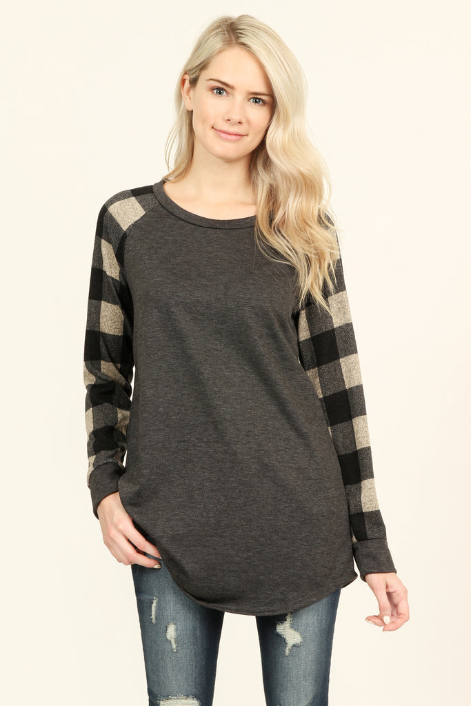 French Terry Plaid Sleeve Knit Tunic