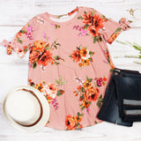 Floral Tie Sleeve Tunic