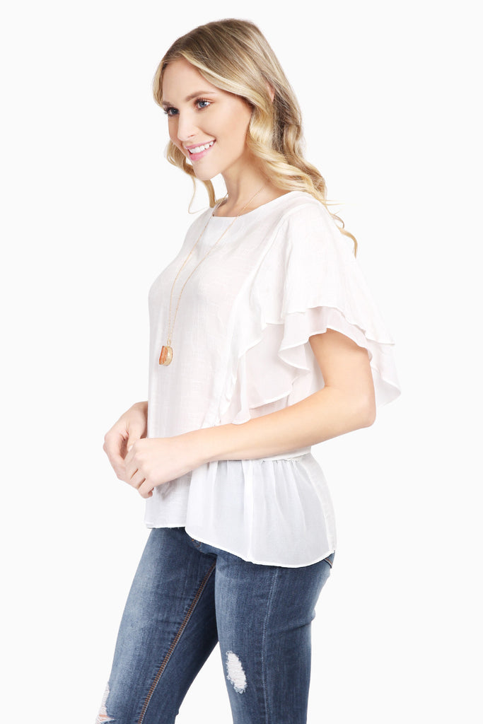 Short Ruffle Sleeved Classic Top