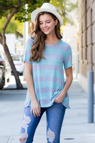 Striped Long Sleeve Tunic Top