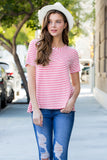 Short Sleeved Scoop Neck Striped Tee