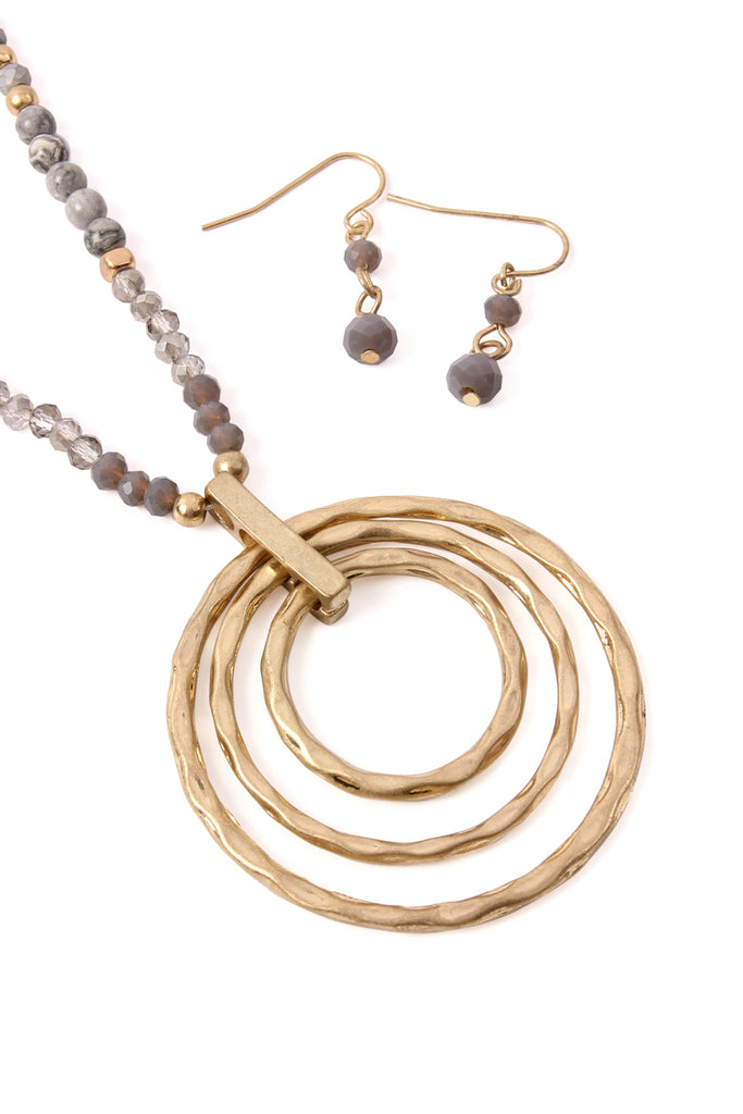 Rondelle Beads Tri-Hoop Pendant Necklace and Earrings Set
