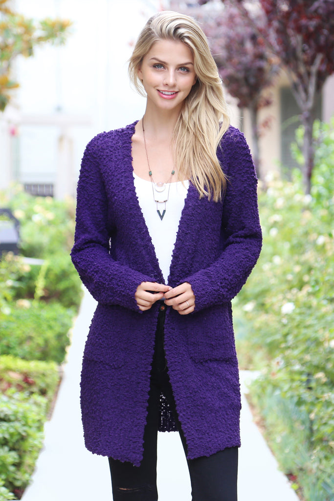 Popcorn Pocket Open Cardigan