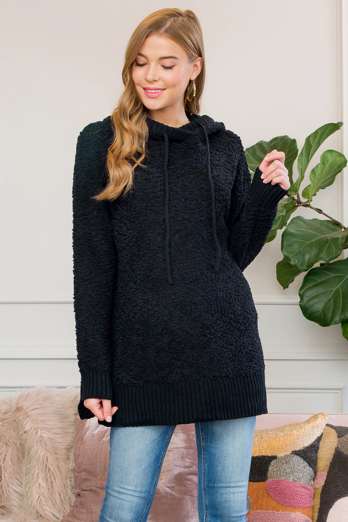 Popcorn Rib Detail Hooded Pullover