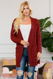 Cable Popcorn Sweater Cardigan with Pockets