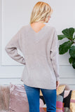 Wide Double V Neck Waffle Knit Sweater