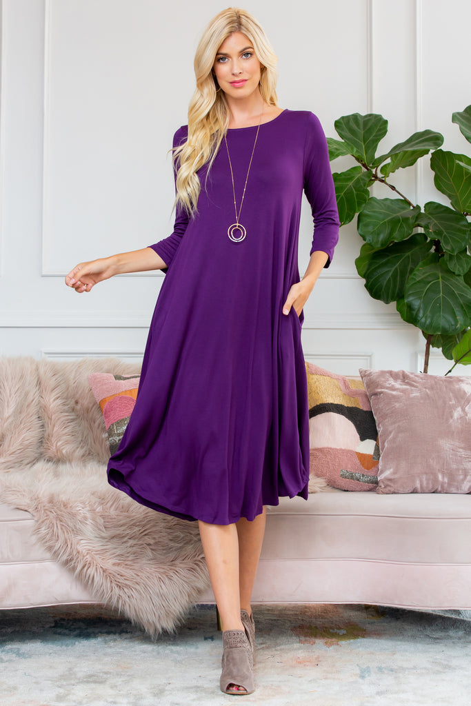 3/4 Sleeve Pocket Dress