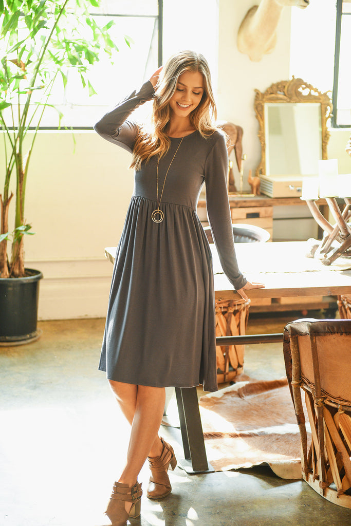 Viscose Long Sleeve Round Neck Dress