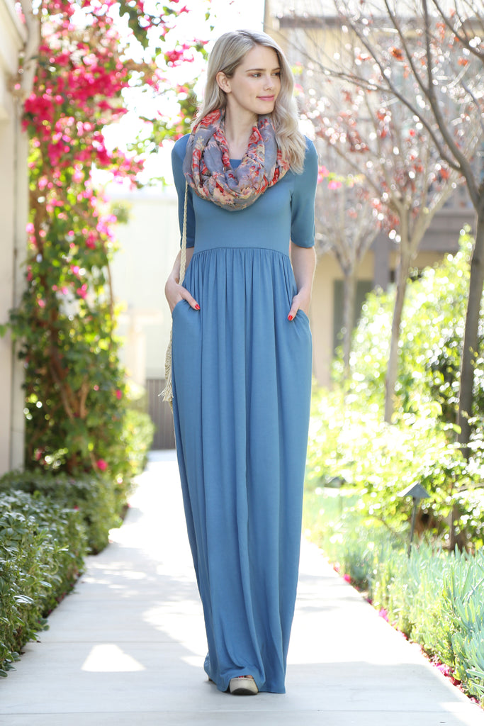 Half Sleeve Scoop Neck Pocket Maxi Dress