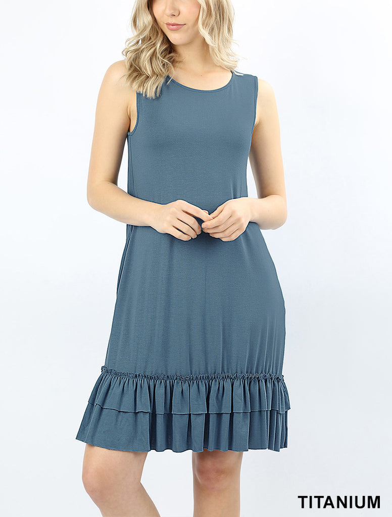 Ruffle Hem Sleeveless Dress