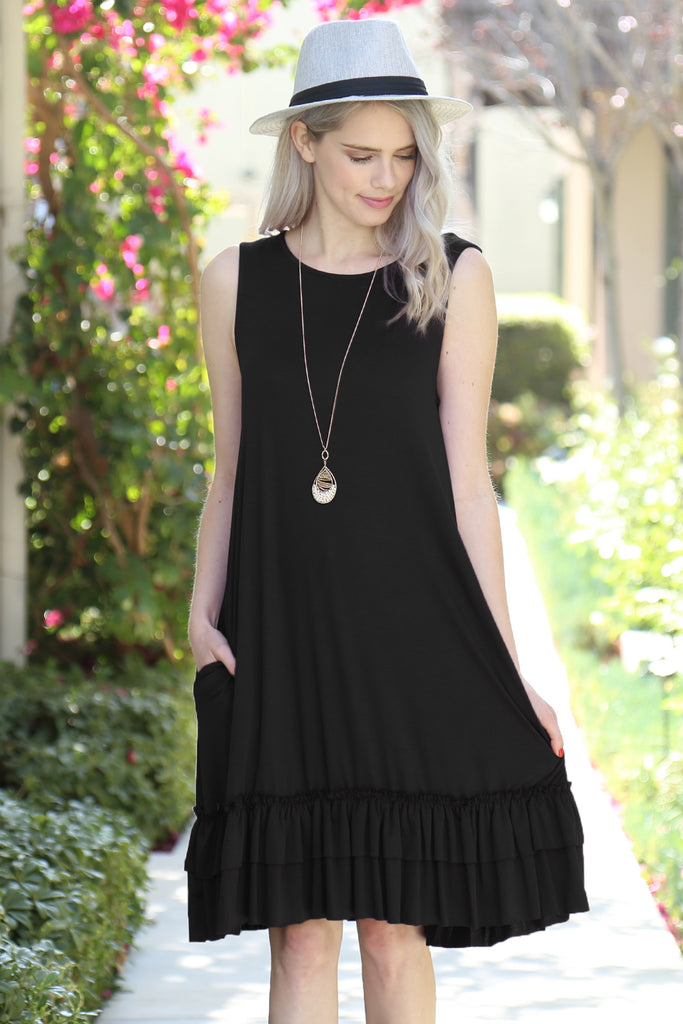 Short Sleeve Ruffled Hem Dress