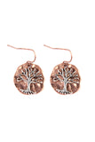 Two Tone Tree Of Life Hammered Plate Earrings