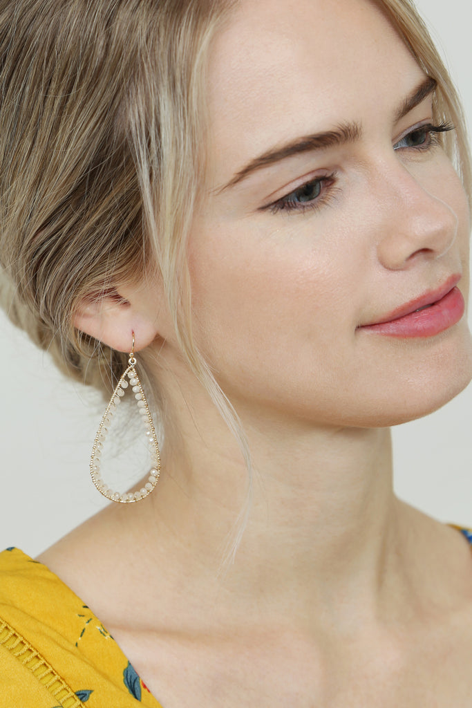 Rondelle Wire Stitched Teardrop Earring