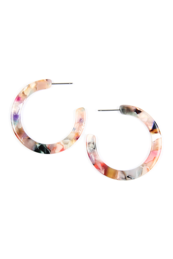 Multicolor Large Hoop Resin Earrings