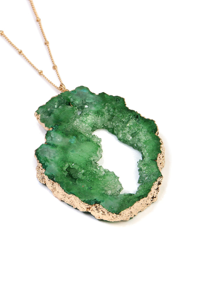 Cut-Out Druzy Stone Necklace