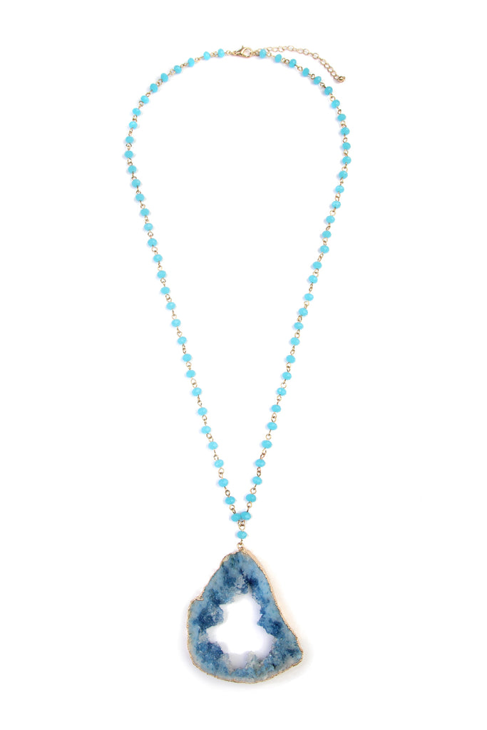Cut-Out Druzy Beaded Necklace