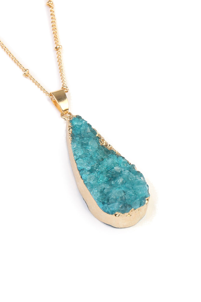 Teardrop Druzy Stone Delicate Necklace