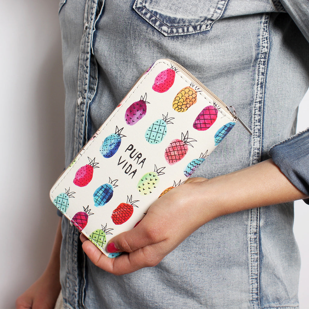 Pineapple Print Zipper Wallet