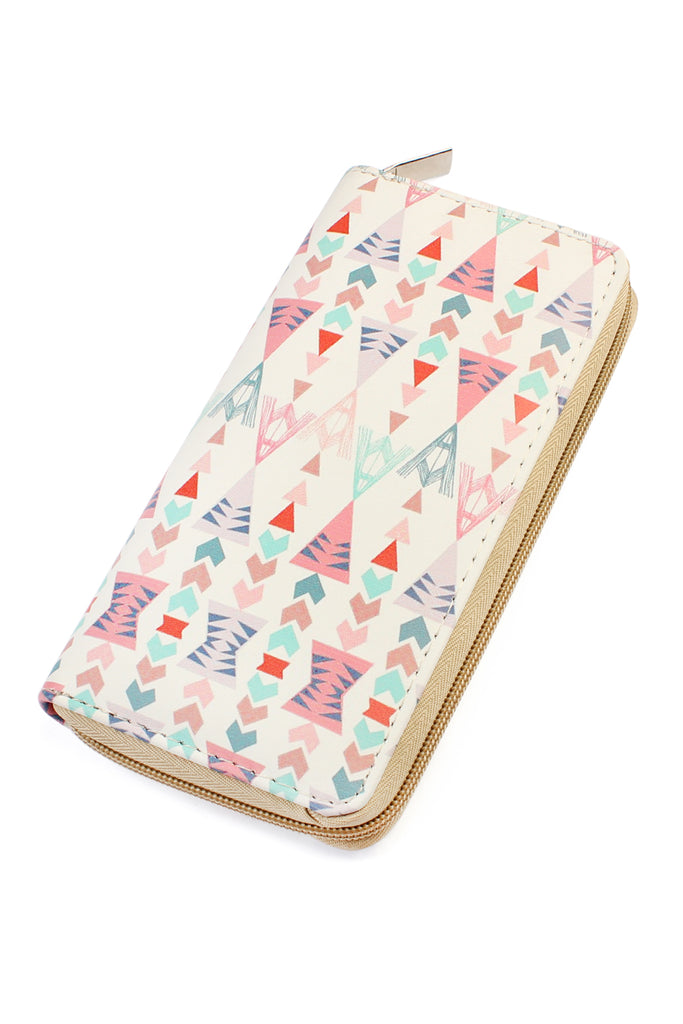 Pastel Triangles Printed Zipper Wallet
