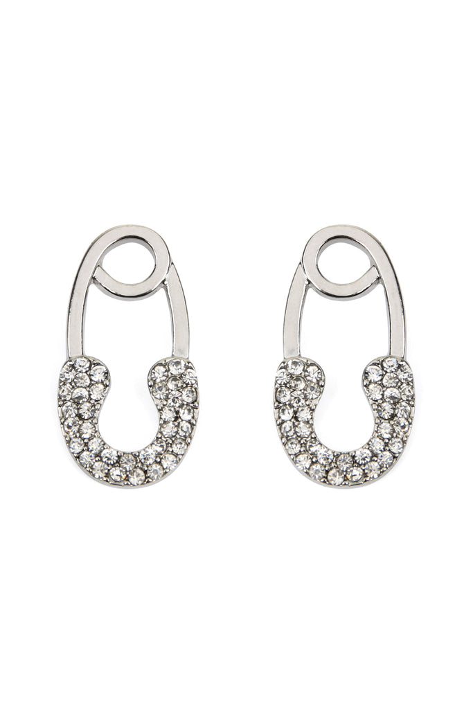 Cast Safety Pin Shape Post Earrings