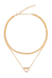Open Heart Pendent Chain Layered Choker