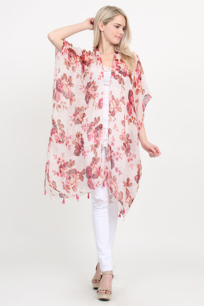 Open Front Knee Length Floral Cardigan