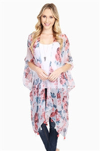 Rose Print Sheer Cardigan