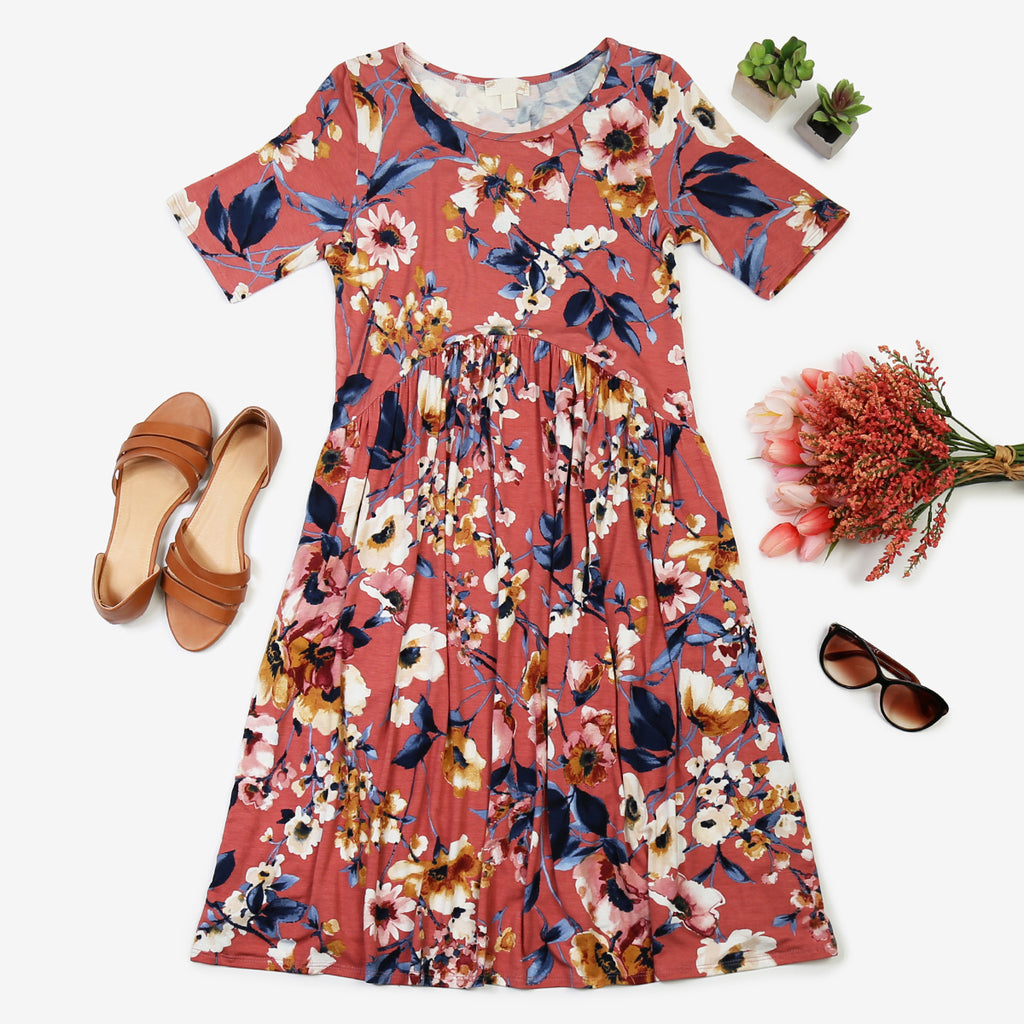 Short-Sleeve Floral Print Dress