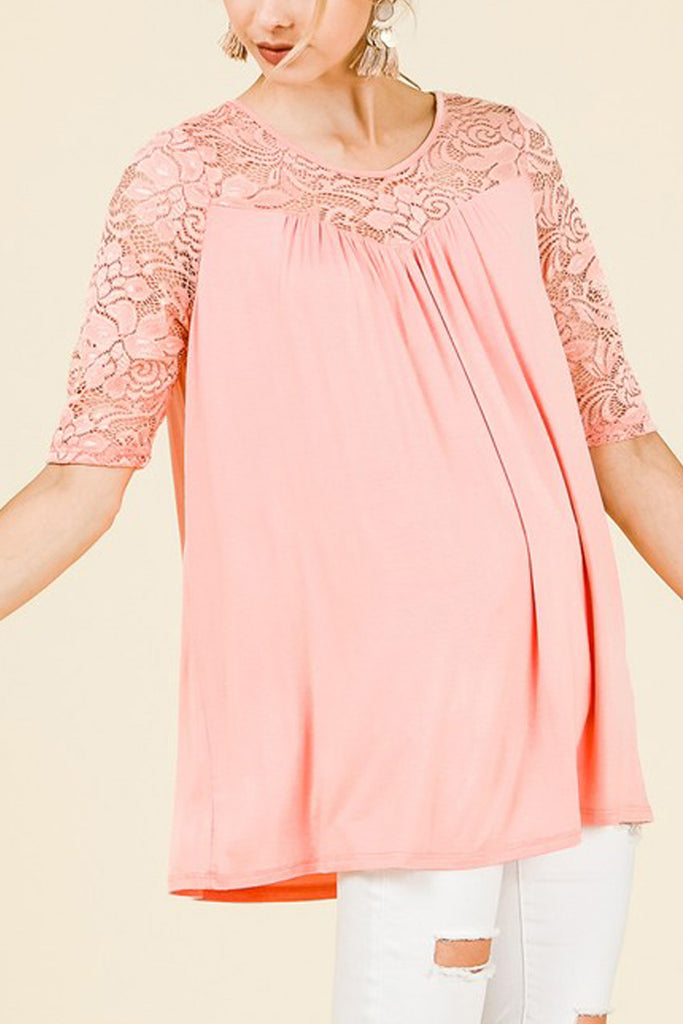 3/4 Sleeve Top With Lace Detail