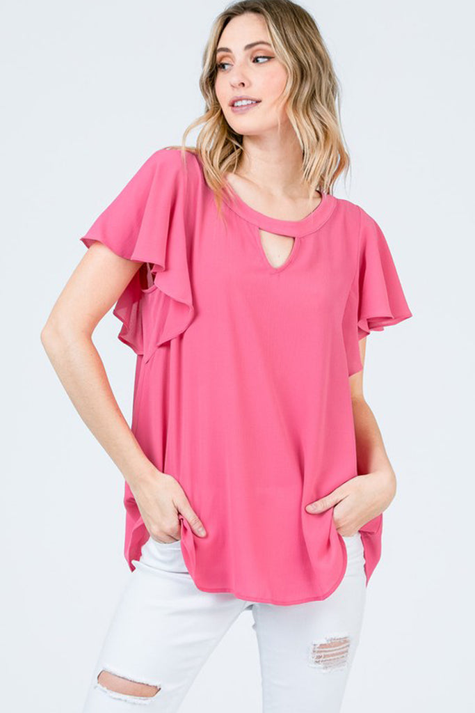 Short-Sleeve Crepe Top with Keyholes and Tiered Flowy Sleeves