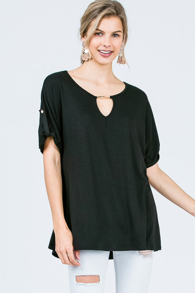 Short-Sleeve Round-Neck Top Sleeve Cuff Detail