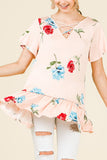 Short Sleeve V-Neck Floral Print Top