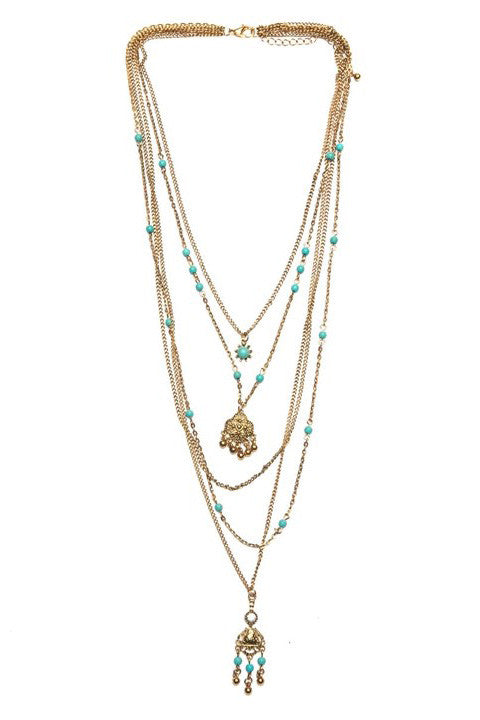 Multi Layered Turquoise Bead Necklace