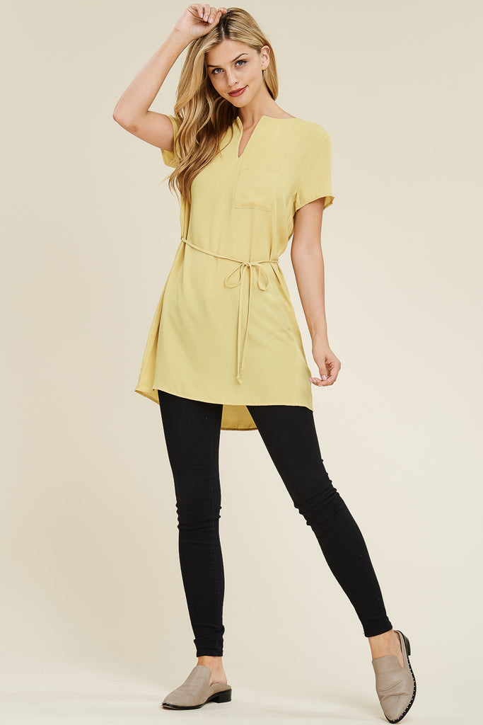 Self Tie Waist Pocket Tunic Blouse