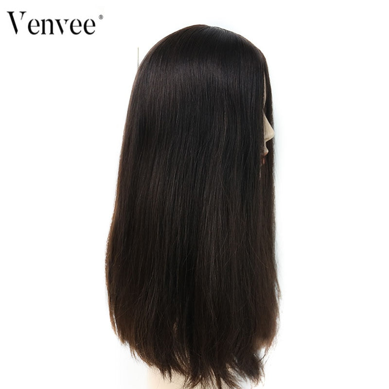 Jewish Wig European Remy Hair Silk Base Lace Front Human Hair Wigs Straight Double Drawn 4# Color Kosher Wig Venvee