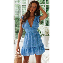 Load image into Gallery viewer, Summer new women's dress fashion sexy V-neck floral boho beach dress ruffled waist strap short dress
