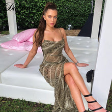 Load image into Gallery viewer, Dulzura snake print chiffon sexy women long party slip maxi sheer dress  strap backless slit elegant  2021