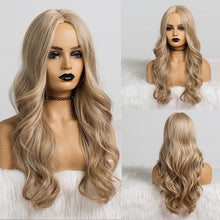Load image into Gallery viewer, EASIHAIR Long Black to Brown Ombre Wigs Synthetic Wigs For Women Glueless Wavy Cosplay Wigs Heat Resistant Daily Wig