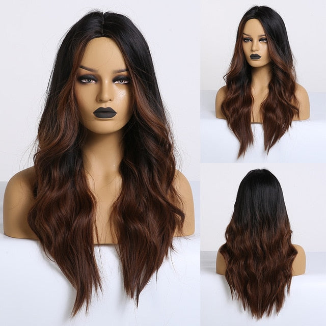 EASIHAIR Long Black to Brown Ombre Wigs Synthetic Wigs For Women Glueless Wavy Cosplay Wigs Heat Resistant Daily Wig