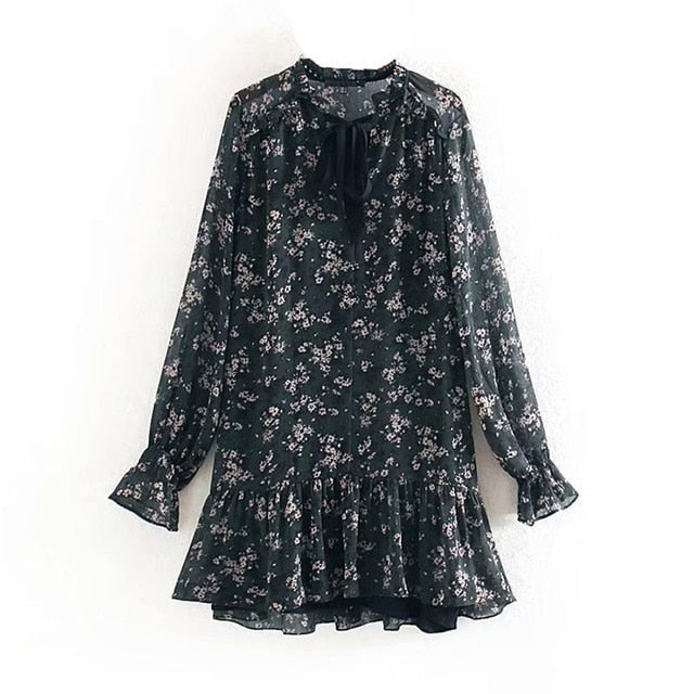 Aachoae Women Ruffle Bow Tie Mini Floral Print Dress Vintage Long Sleeve Casual Loose Pleated Dress Ruffles Party Dress Vestidos