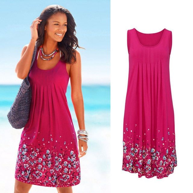 Sleeveless Floral Print Loose Beach Summer Dress Fashion Six Colors Casual Women Dress 2021 Sexy Dress  Size S-5XL