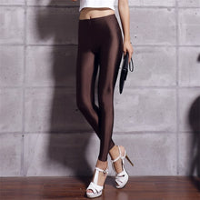 Load image into Gallery viewer, YRRETY Shiny Leggings Women Thin Full Ankle Length Leggings Stretch Pants Basic Leggings Casual Spandex Soft Multicolor Legging