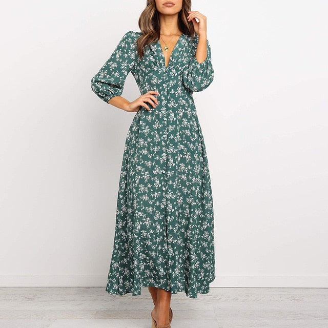 Women Chiffon Long Dress Floral Print Lantern Sleeve A-line Maxi