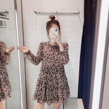 Load image into Gallery viewer, Aachoae Boho Style Floral Print Pleated Dress Long Sleeve Women Mini Dress O Neck Loose Ladies Dresses