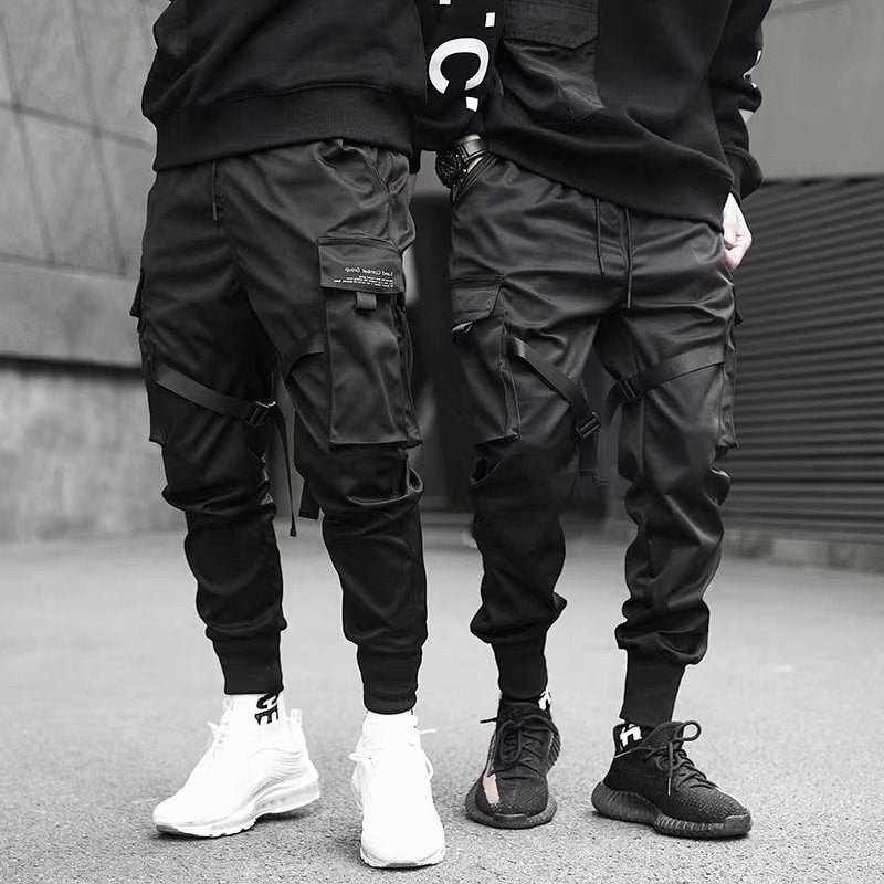 Ribbons Harem Joggers Men Cargo Pants Streetwear 2021 Hip Hop Casual Pockets Track Pants Male Harajuku Fashion Trousers