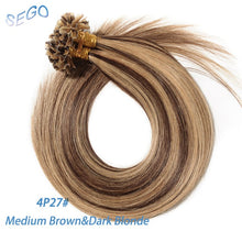 "Load image into Gallery viewer, SEGO 16""-24"" 0.5g/s 100strands 50g Machine Made Remy Nail/U Tip Hair Extension Keratin Capsules Straight Human Fusion Hair"