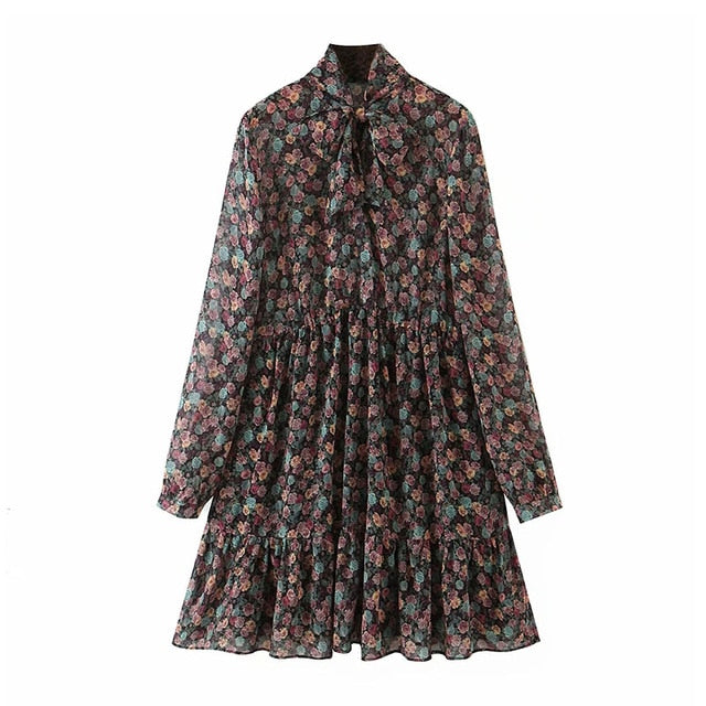 Aachoae Women's Floral Dress Bow Tie Neck Vintage Pleated Dress See Through Sleeve Print Mini Dress
