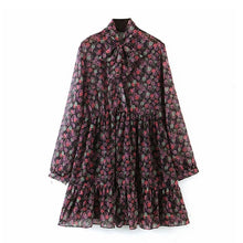 Load image into Gallery viewer, Aachoae Women's Floral Dress Bow Tie Neck Vintage Pleated Dress See Through Sleeve Print Mini Dress