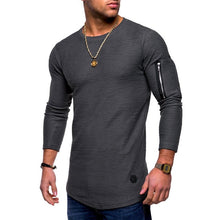 Load image into Gallery viewer, 2021 new T-shirt men's spring and summer T-shirt top men's long-sleeved cotton T-shirt bodybuilding folding T-shirt men