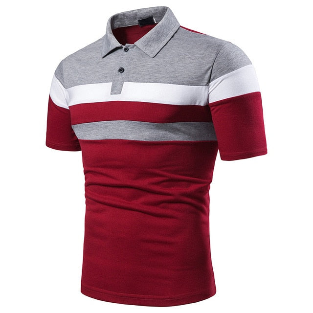 KB Men Polo Men Shirt Short Sleeve Polo Shirt Contrast Color Polo